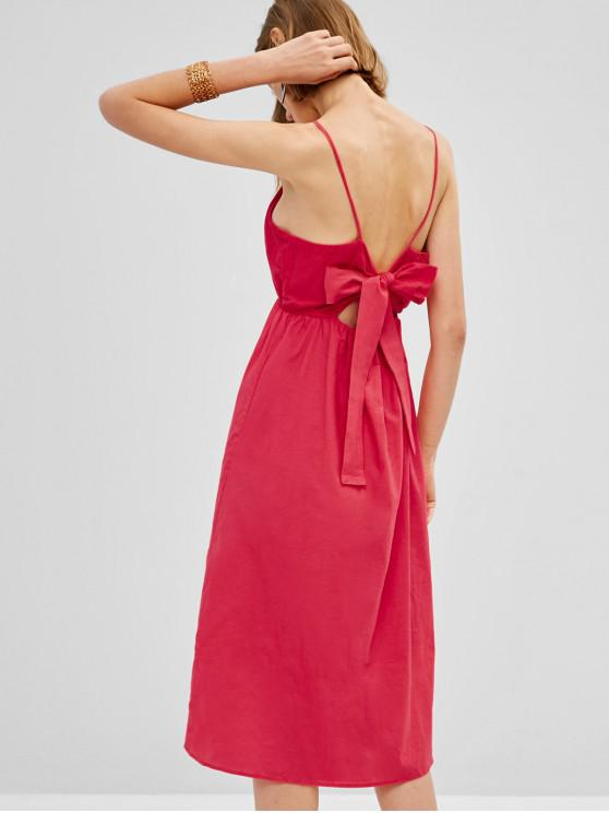 affordable Tie Back Buttoned Cami Midi Dress - ROSE RED L