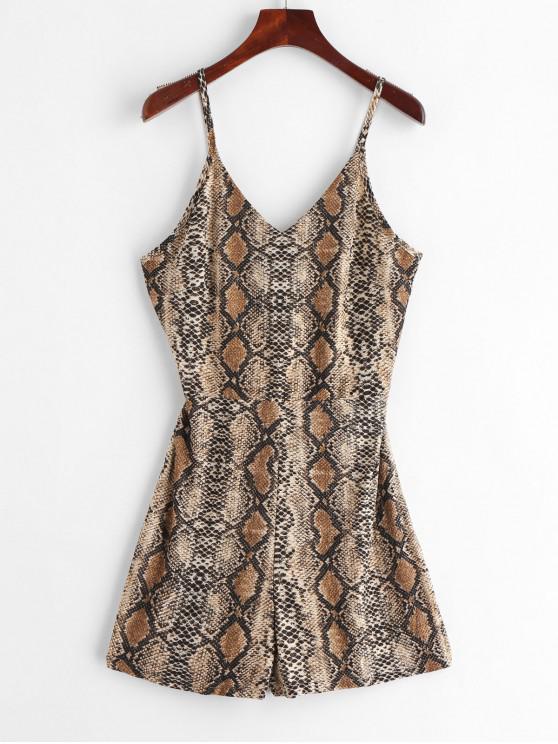lady Lace-up Snake Print Romper - MULTI-A M