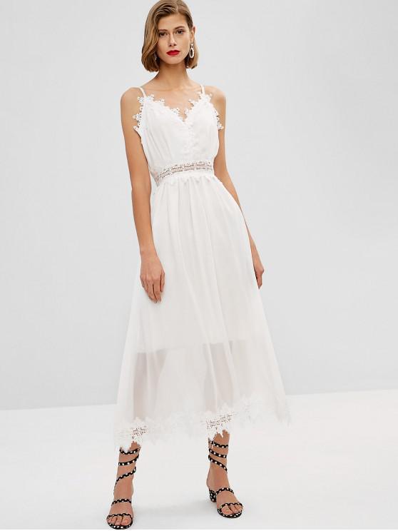 women Back Zipper Lace Panel Maxi Dress - MILK WHITE M