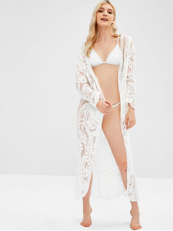 buy Lace Longline Cover Up - WHITE ONE SIZE