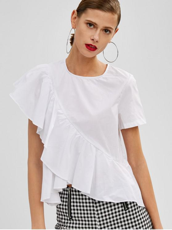 women's Keyhole Back Asymmetrical Ruffle Top - WHITE S