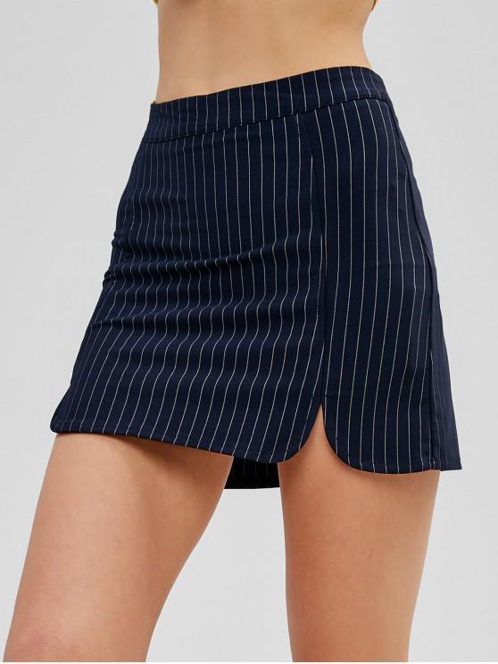 Mini jupe à fines rayures - Bleu de Minuit M