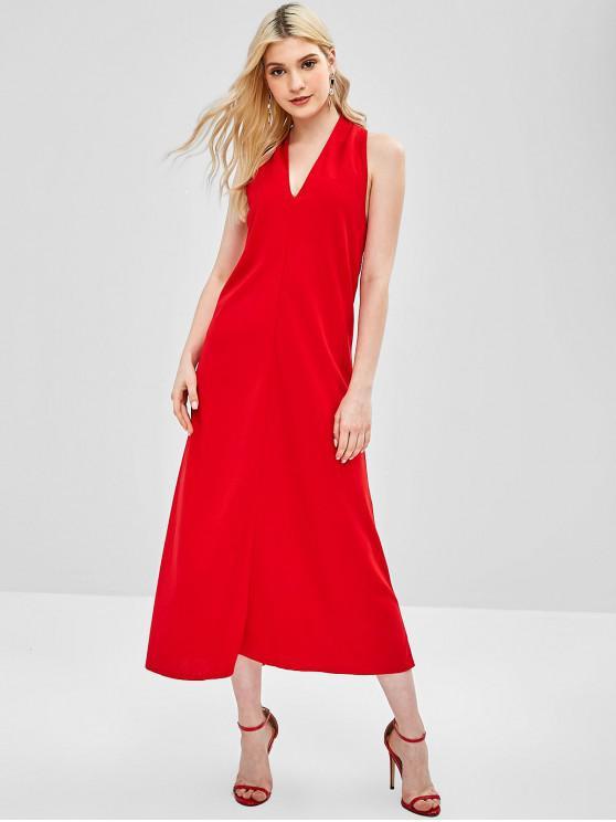 shops V Neck Open Back Maxi Dress - RED L