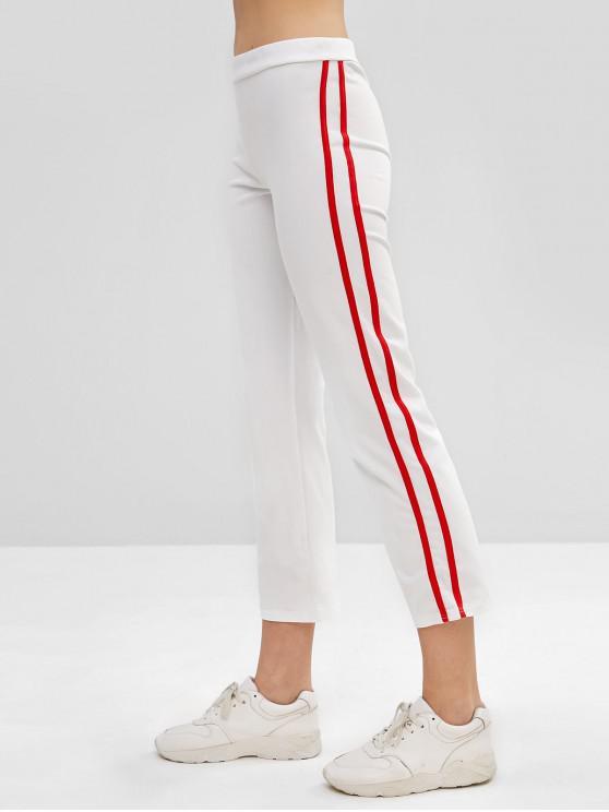 women's Striped Side Pencil Pants - WHITE M