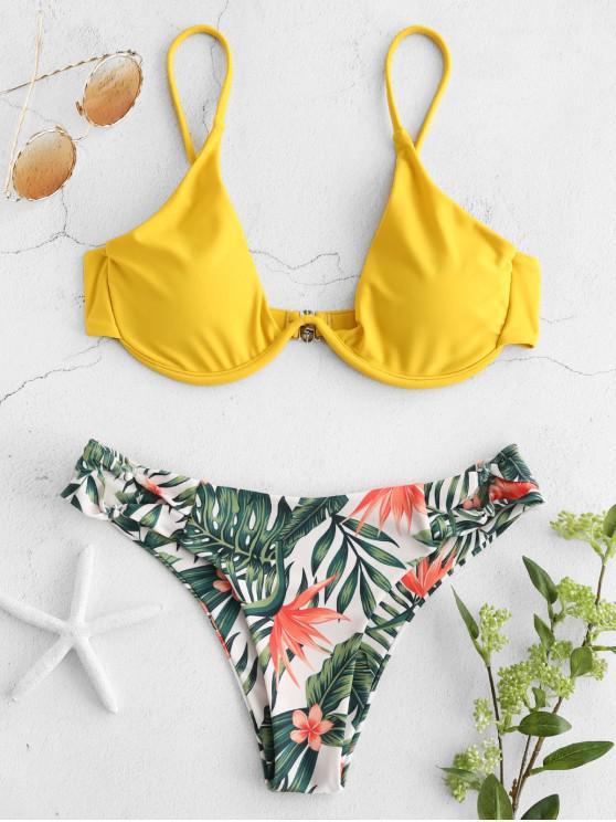 ZAFUL Floral Floral Knots Underwire Bikini Set - Vara de Ouro L