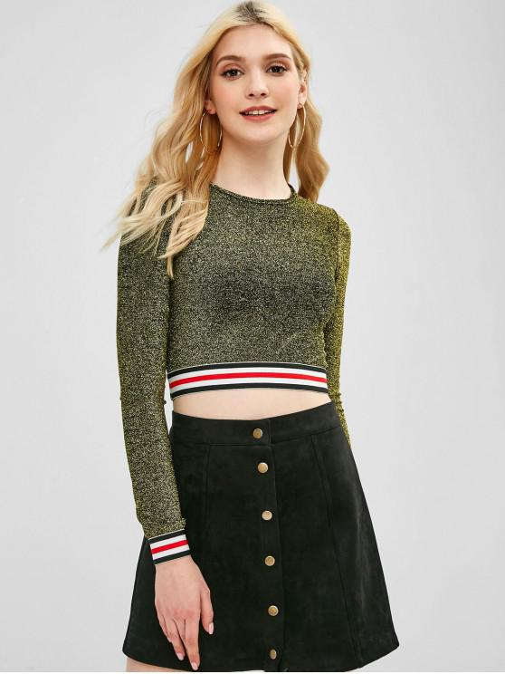 shop Cropped Shiny Stripes Top - GOLD ONE SIZE