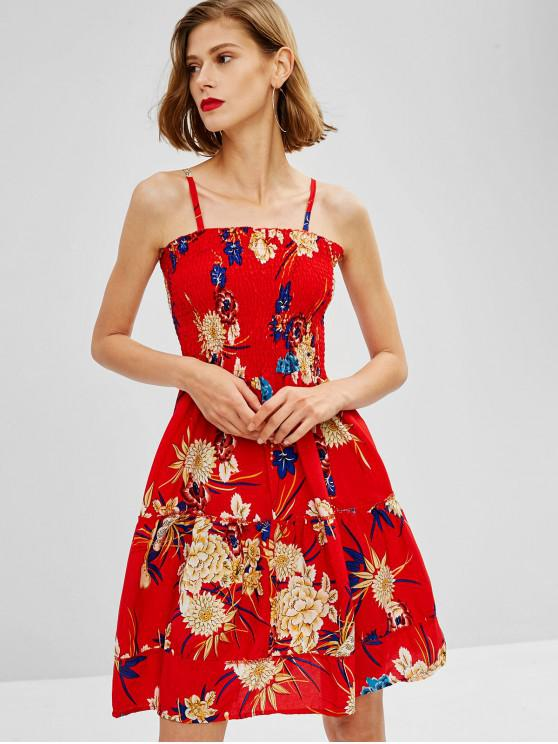 Floral Gesmoktes Schlauch-Minikleid - Rot S