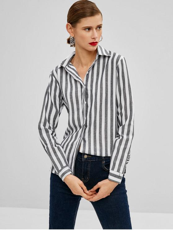 buy Striped Button Up High Low Shirt - MULTI XL