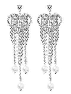 Heart Shape Rhinestone Tassel Faux Pearl Earrings - Plata