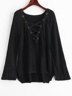 Slit Lace Up High Low Sweater - Black