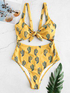 ZAFUL Cactus Print Knot Cut Out Swimsuit - Golden Brown Xl