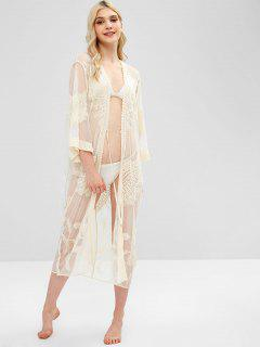 Tie Front Longline Lace Cover Up - Warm White