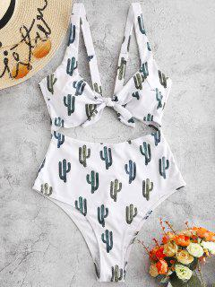 ZAFUL Cactus Print Knot Cut Out Swimsuit - White Xl