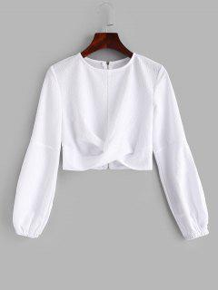 Puff Sleeve Twisted Zipped Crop Top - White M