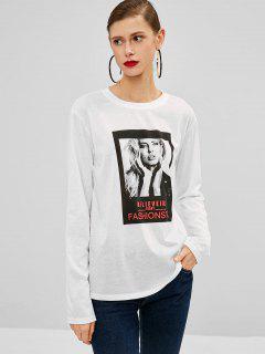 Print Long Sleeve Tunic Tee - White L