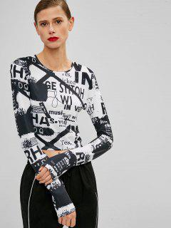 Letter Print Cropped Tee - Black Xl