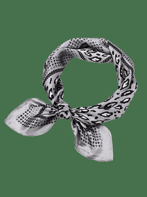 women's Leopard Animal Print Square Shape Scarf - GRAY CLOUD  Mobile