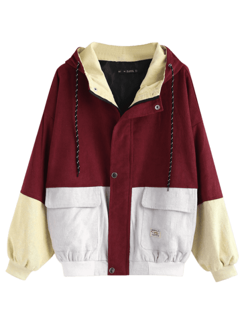 latest Hooded Color Block Corduroy Jacket - CHERRY RED M Mobile