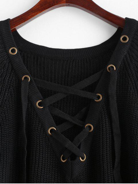 best Slit Lace Up High Low Sweater - BLACK ONE SIZE Mobile