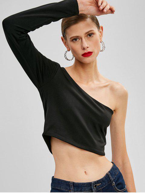 fancy ZAFUL Cropped One Shoulder Top - BLACK L Mobile