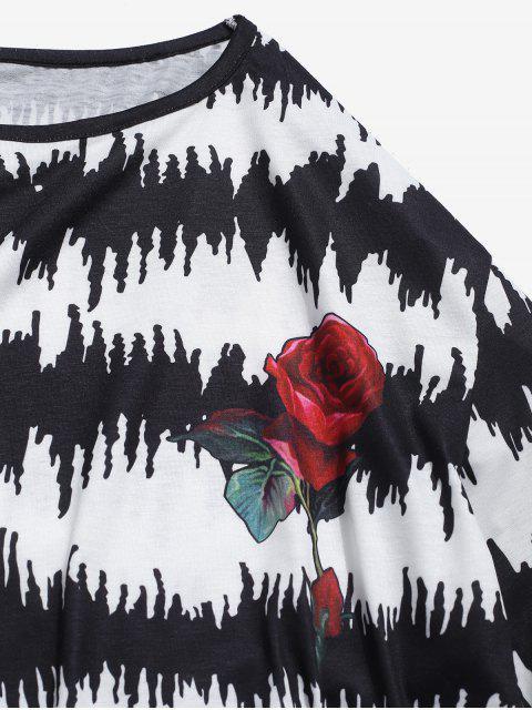ZAFUL T-shirt Motif de Rose à Manches Longues - Blanc S Mobile