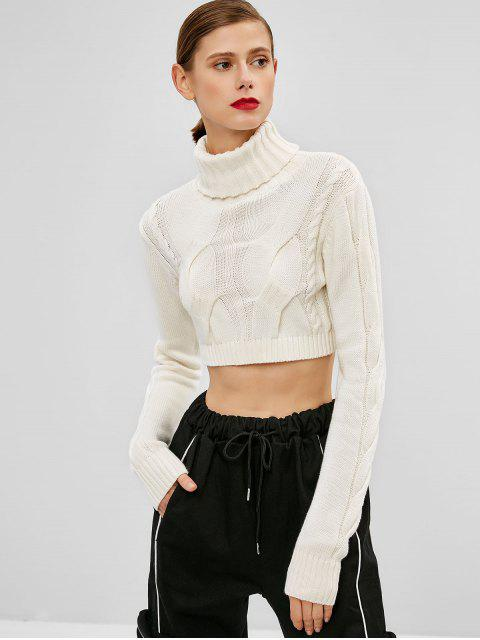 new Cable Knit Turtleneck Crop Sweater - WHITE ONE SIZE Mobile