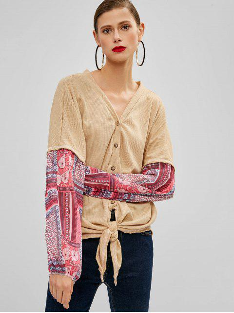 womens Buttoned Knotted Hem Printed Blouse - TAN M Mobile