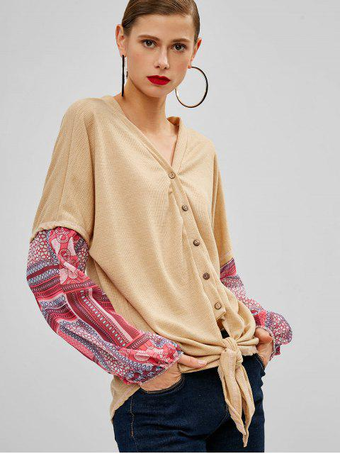 women Buttoned Knotted Hem Printed Blouse - TAN XL Mobile