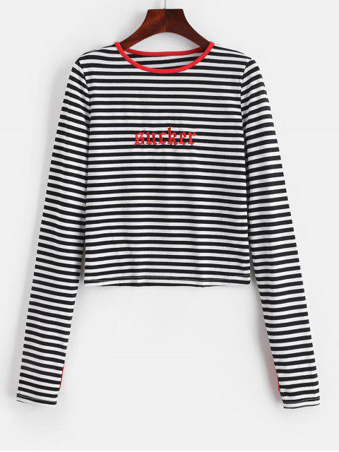 online Thumbhole Sleeve Striped Embroidered Tee - MULTI S Mobile