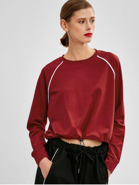 shops Raglan Sleeve Striped Casual Sweatshirt - RED WINE ONE SIZE Mobile