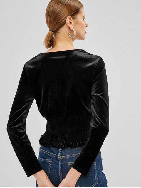 affordable Smocked Waist Velvet Top - BLACK ONE SIZE Mobile