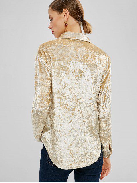 womens Flower Embroidered Velvet Shirt - GOLD M Mobile