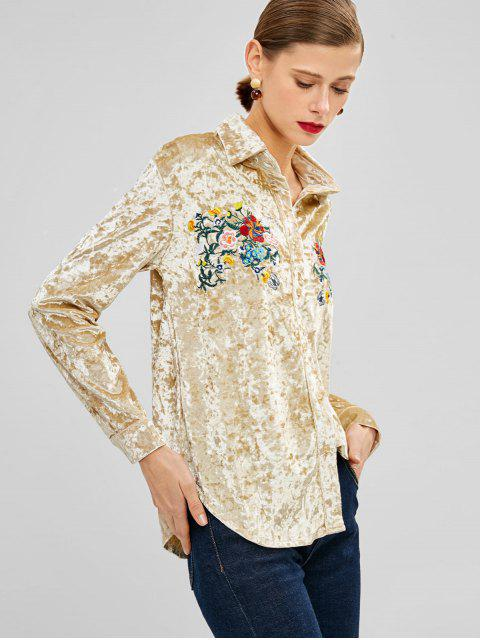 lady Flower Embroidered Velvet Shirt - GOLD L Mobile