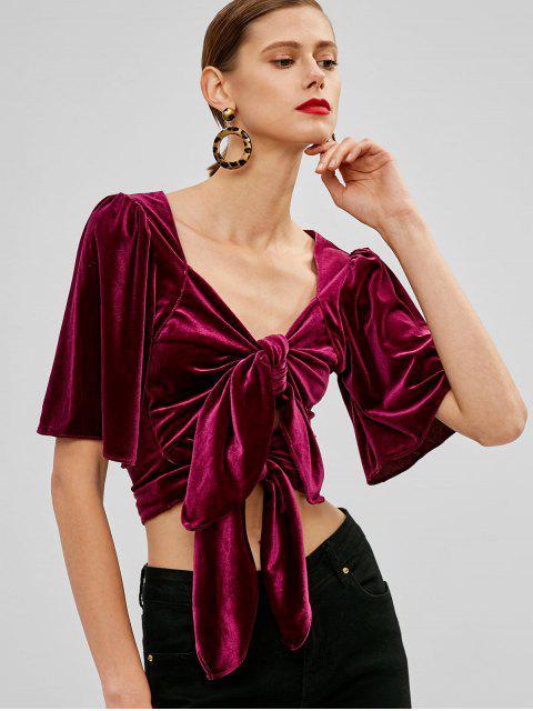 womens Puff Sleeve Velvet Tie Front Top - PLUM VELVET L Mobile