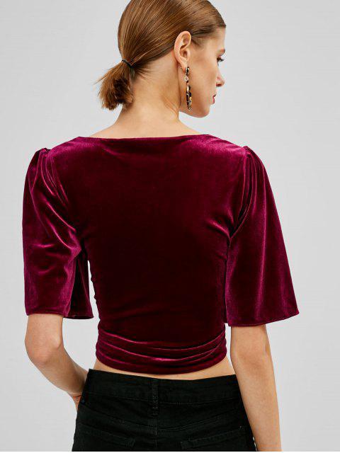 women's Puff Sleeve Velvet Tie Front Top - PLUM VELVET M Mobile