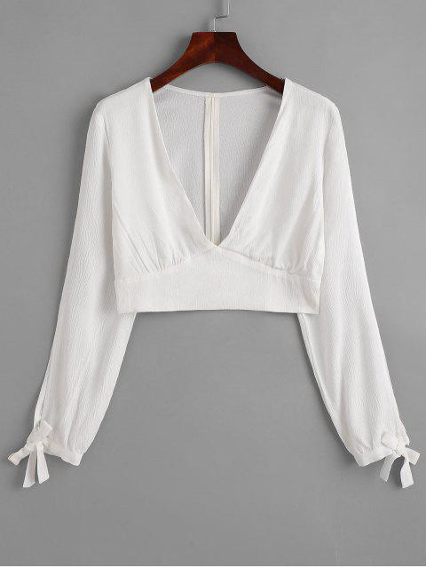 hot ZAFUL V Neck Knotted Cropped Top - MILK WHITE S Mobile