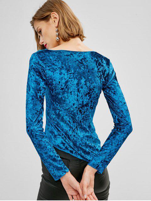 Haut Asymétrique Plissé en Velours - Bleu L Mobile