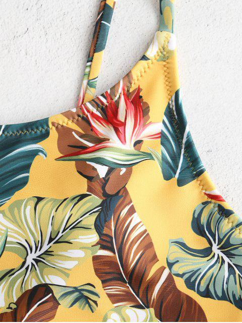buy ZAFUL Leaves Print Cut Out Swimsuit - MULTI S Mobile