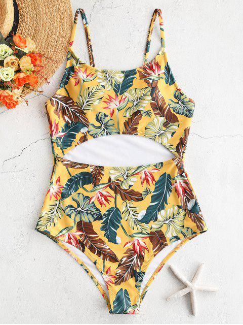 women ZAFUL Leaves Print Cut Out Swimsuit - MULTI L Mobile