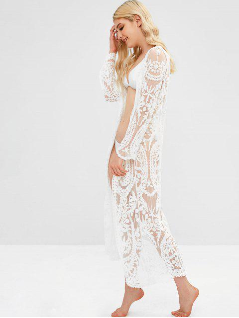 buy Lace Longline Cover Up - WHITE ONE SIZE Mobile