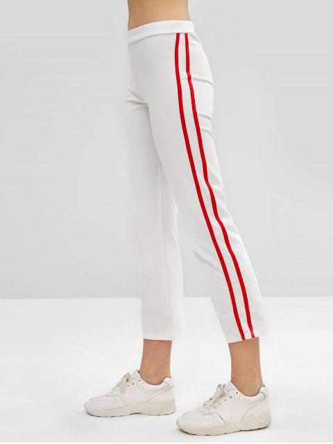 Pantalones de lápiz laterales a rayas - Blanco M Mobile