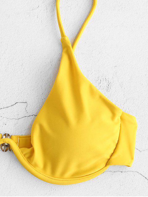 ladies ZAFUL Leaf Floral Knots Underwire Bikini Set - GOLDENROD M Mobile