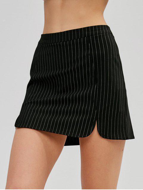 lady Pinstriped Mini Skirt - BLACK L Mobile