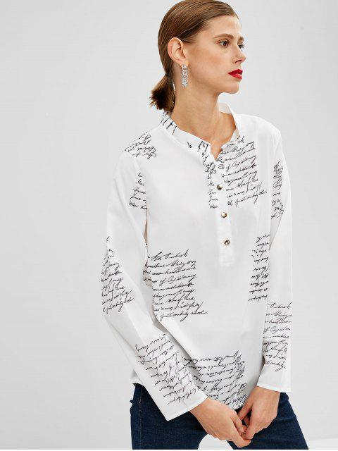 latest Half Buttoned Letter Print Top - WHITE L Mobile