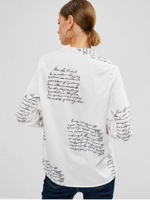 affordable Half Buttoned Letter Print Top - WHITE S Mobile