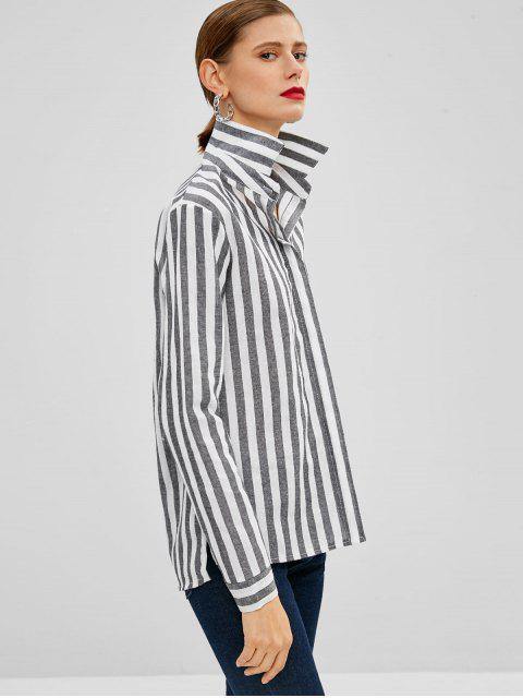 unique Striped Button Up High Low Shirt - MULTI S Mobile