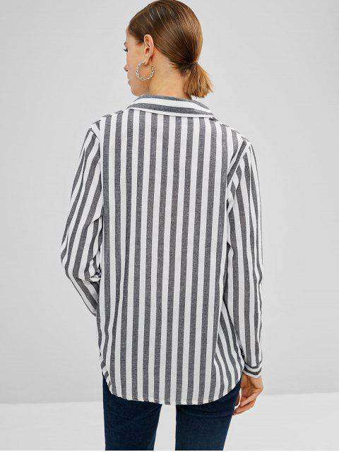 sale Striped Button Up High Low Shirt - MULTI M Mobile