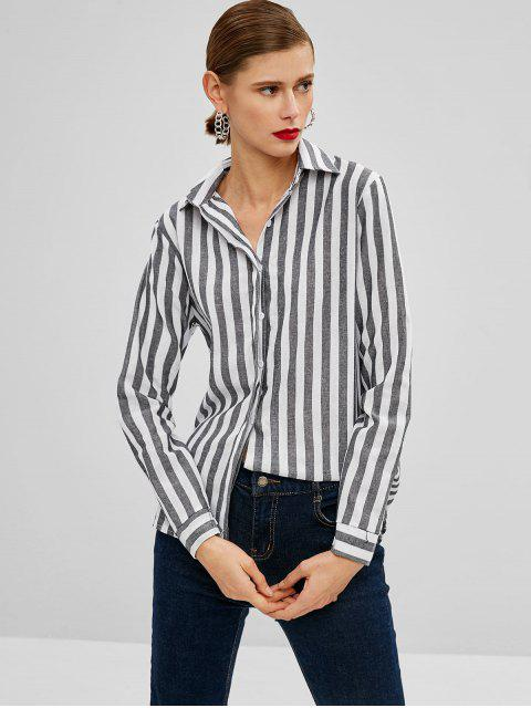 affordable Striped Button Up High Low Shirt - MULTI L Mobile