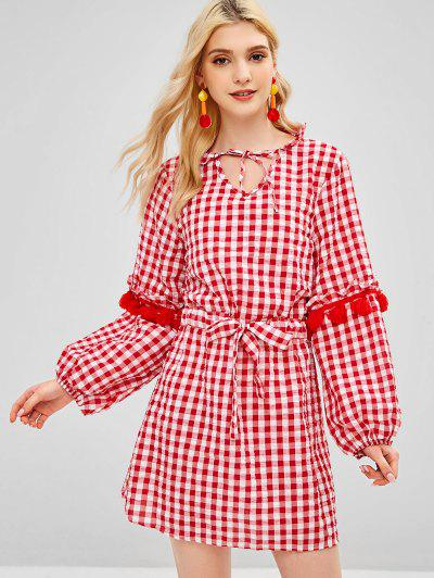 23f8ae21a4a Drawstring Plaid Tassels Casual Dress - Red L