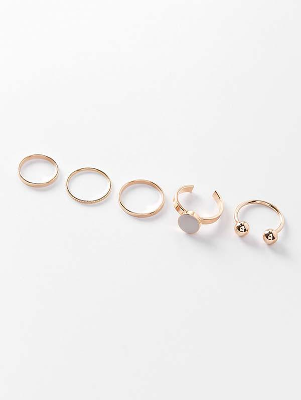 Alloy Simple Round Finger Ring Set